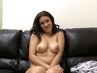 Horny Vanessa can take a whole fat cock in the brush shaved pussy