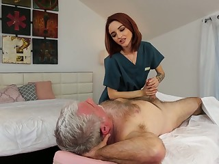 Yummy in flames haired masseuse Lola Fae gets intimate with old client