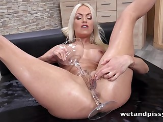 Fit and firm body on a dildo fucking and pissing blonde mollycoddle