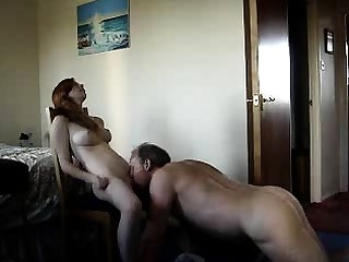 Big boobs plus young pussy for lucky old man