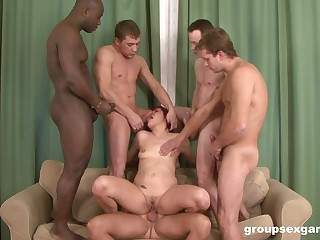 Hardcore interracial gangbang with redhead floosie Lucy Bell