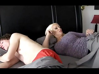 Super-Sexy ash-blonde chick with massive breasts is plumbing her step- son-in-law because she loves his hard-on