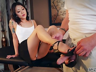 In one's birthday suit Korean Saya Song gives a footjob with the addition of blowjob to be experiencing married man