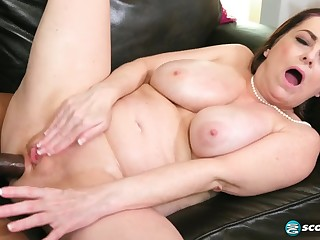 Busty brunette MILF Veronika Vixon ass fucked around interracial anal with cumshot