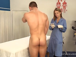 A big guy submits to prostate catechism and his sexy doctor wants to finger his ass