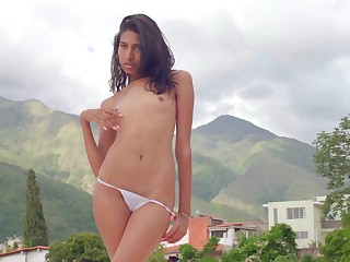 Outdoor masturbation video be fitting of sweet Scarlett Camila on the roof