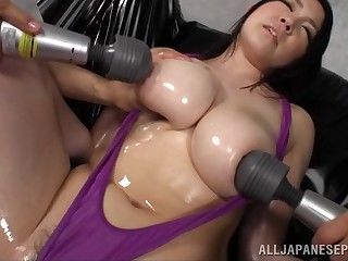 Oiled grown-up Sena Minami enjoys getting her pussy and boobs