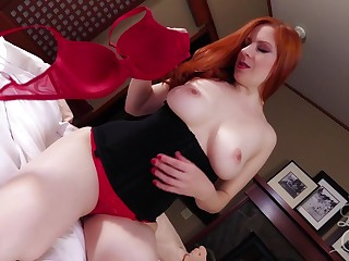 Redheaded MILF with beamy knockers is air hungry and wants some dick
